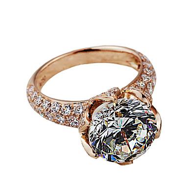 Anéis Mulheres Strass Prata / Pedaço de Platina Prata / Pedaço de Platina 4.0 / 5 / 6 / 7 / 8 / 8½ / 9 / 9½ Rosa Dourado