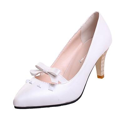 Femme Chaussures Similicuir Automne Chaussures à Talons Talon Aiguille Cristal Imitation Perle pour Décontracté Soirée & Evénement Blanc