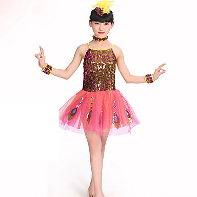 Fantasias Vestidos Crianças Actuação Poliéster 1 Peça Sem Mangas Natural Vestido Neckwear Braceletes