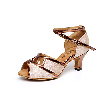Women's Latin Shoes / Salsa Shoes Chunky Sparkling Glitter Sandal Buckle Chunky Shoes Heel Non Customizable Dance Shoes Silver / Brown / Golden / Indoor / Professional 6e820f