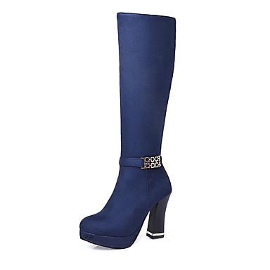 Mulheres Sapatos Courino Outono / Inverno Botas da Moda Botas Salto Robusto 35.56-40.64 cm / Botas Cano Alto Ziper Preto / Vermelho / Azul