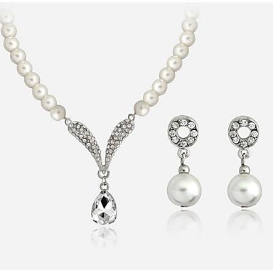 Mujer Perla Conjunto de joyas - Perla, Brillante Gota Elegante, Nupcial Incluir Pendientes colgantes / Collares con colgantes Blanco Para Boda / Fiesta / Diario
