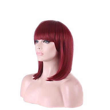 billige Kostymeparykk-Syntetiske parykker Kostymeparykker Rett Stil Bobfrisyre Parykk Fuchsia Syntetisk hår Dame Rød Parykk Kort Medium Lengde