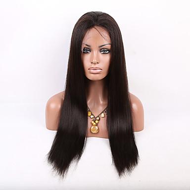 Kvinder Blondeparykker med menneskehår Ekte hår Helblonde Blonde Forside 150% tetthet Rett Yaki Parykk Jet Svart Svart Mørkebrun