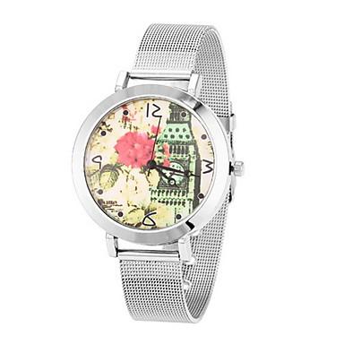 Mulheres Relógio de Moda Relógio de Pulso Quartzo Relógio Casual Aço Inoxidável Banda Flor Legal Prata Dourada Prata