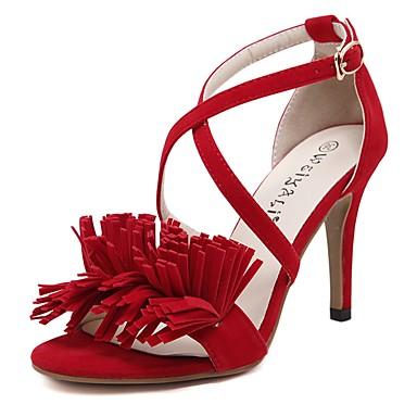 Femme Chaussures Laine synthétique Printemps Eté Talon Aiguille Boucle Gland Pour Décontracté Habillé Soirée & Evénement Noir Rouge