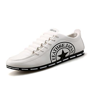 Herren-Sneaker-Outddor Lässig Sportlich-Kunstleder-Flacher Absatz-Komfort-Schwarz Rot Weiß