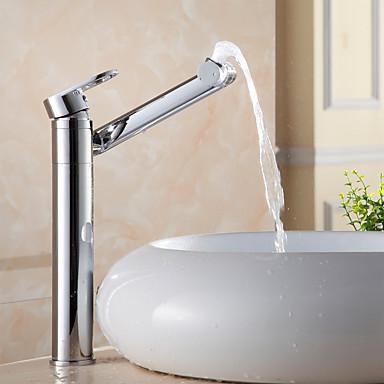 Moderne Mittellage Verbreitete drehbar Keramisches Ventil Ein Loch Einhand Ein Loch Chrom, Waschbecken Wasserhahn