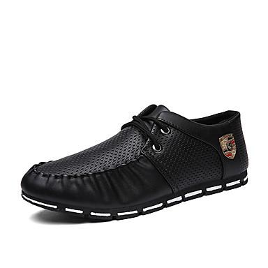 Homme Chaussures Tulle Printemps Automne Confort Oxfords Marche pour Décontracté Blanc Noir Noir/blanc