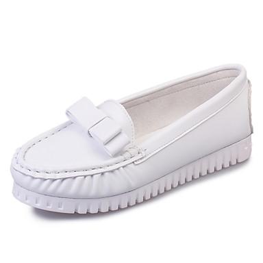 Dame Sko Kunstlær Vår Høst Komfort Flate sko Lav hæl Sløyfe til Avslappet Hvit Svart Blå Rosa
