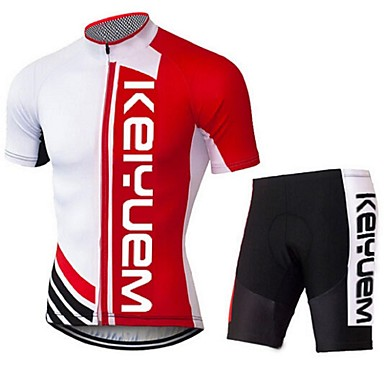 KEIYUEM Manches courtes Maillot et Cuissard de Cyclisme Unisexe Vélo Maillot Ensemble de Vêtements/TenusRespirable Séchage rapide