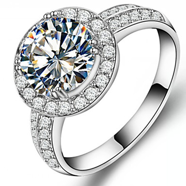 Dame Båndringe Luksus Mode Sølv Rhinsten Simuleret diamant Smykker Bryllup