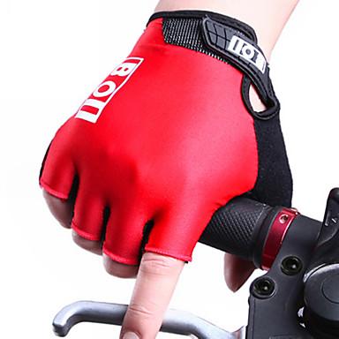 billige Sykkelhansker-Sykkelhansker Pustende Anti-Skli Svettereduserende Beskyttende Halv Finger Aktivitets- / Sportshansker Lær Fjellsykling Svart Rød Blå til Voksne Utendørs