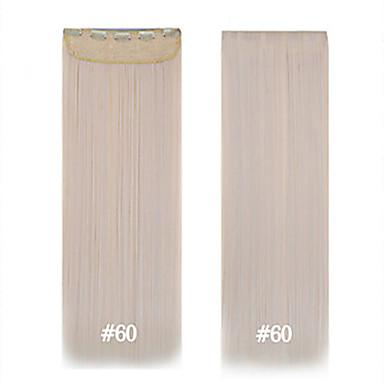 extensões de cabelo sintético moda 1 peça das mulheres 24inch 120g # 60 longa grampo de cabelo 5clips reta em linha reta