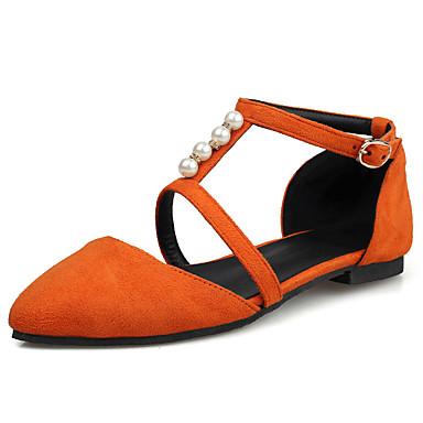 Feminino Sapatos Couro Ecológico Primavera Verão Outono Bailarina Tira no Tornozelo Rasos Rasteiro Com Pérolas Presilha Para Casual