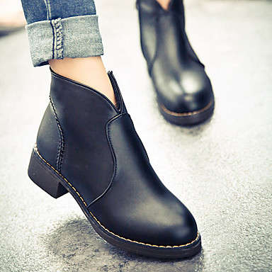Chaussures Polyuréthane Automne Hiver boîtes de Combat Bottes Gros Talon Bottine/Demi Botte Pour Décontracté Noir Marron