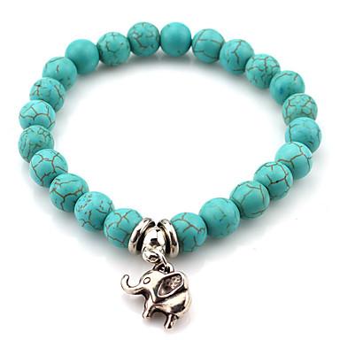 Damen Strang-Armbänder Modisch Böhmen-Art Perlenbesetzt Handgemacht Europäisch Achat Türkis Runde Form Schmuck Für Alltag Normal
