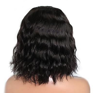 Ekte hår Helblonde Blonde Forside Parykk Krop Bølge 120% tetthet 100 % håndknyttet Afroamerikansk parykk Naturlig hårlinje Kort Medium