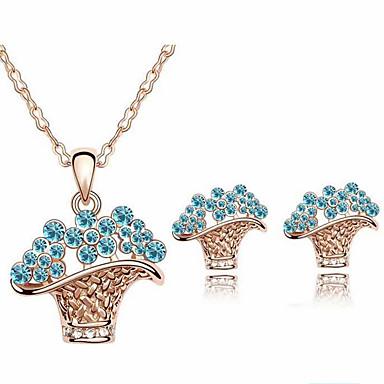 סט תכשיטים שרשרת / עגילים קריסטל אופנתי סגסוגת סגול כחול שרשראות עגילים ל יומי קזו'אל 1set מתנות חתונה