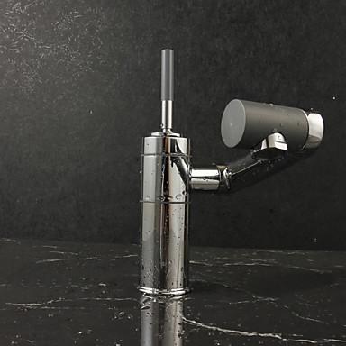 Moderna Montagem em Plataforma Rotativo Válvula Cerâmica Uma Abertura Monocomando e Uma Abertura Cromado , Torneira pia do banheiro