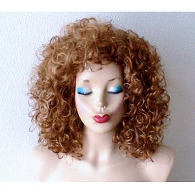 Synthetische Perücken Locken Natürlicher Haaransatz Dunkler Haaransatz Blond Damen Kappenlos Karnevalsperücke Halloween Perücke Schwarze