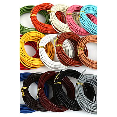beadia 5 mts 2mm cordon rond de cuir; câbler; string (15 couleurs)