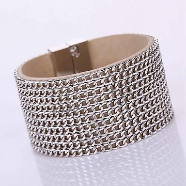 Damen Leder bezaubernd Lederarmbänder Wickelarmbänder - Böhmische Mehrlagig Modisch Geometrische Form Schwarz Silber Golden Armbänder Für