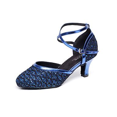 בגדי ריקוד נשים לטיני סלסה דמוי עור סנדלים בבית מקצועי אבזם עקב עבה כחול ללא התאמה אישית