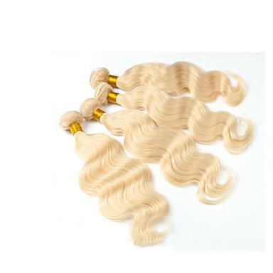 Eurázsiai haj Hullámos Hair Vetülék, zárral Emberi haj sző Blonde Human Hair Extensions