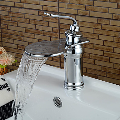 Bathroom Sink Faucets Contemporary Art Deco Retro Modern Centerset Waterfall Ceramic Valve Single Handle One Hole Chrome