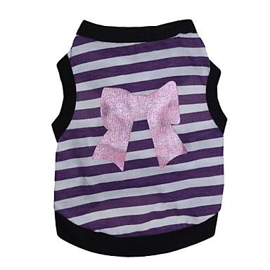 Katze Hund T-shirt Hundekleidung Schleife Purpur Rosa Baumwolle Kostüm Für Haustiere Sommer Herrn Damen Modisch