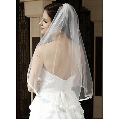 Uma Camada Borda com Tira Véus de Noiva Véu Cotovelo Com Pedrarias / Pérolas Tule / Clássico