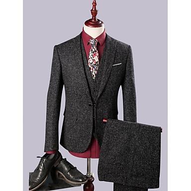 Noir Couleur Pleine Coupe Slim Lin Costume - Cranté Droit 1 bouton