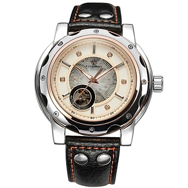 FORSINING® Men's Automatic Mechanical Elegant Dial Leather Band Wrist Watch (Assorted Colors) Cool Watch Unique Watch Fashion Watch