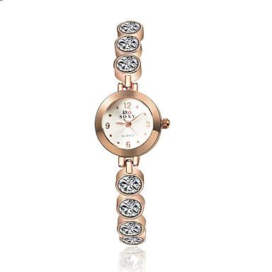 Damen Armband-Uhr Modeuhr Quartz Armbanduhren für den Alltag Legierung Band Charme Elegant Gold