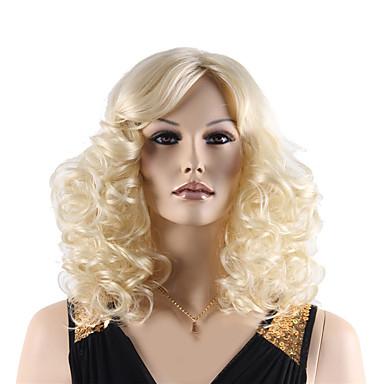 Cabelo Sintético perucas Ondulado Sem Touca Curto Loiro