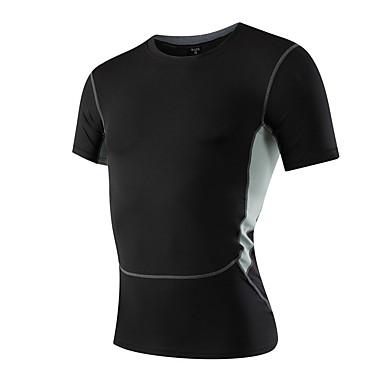Herrn Laufshirt Kurzarm Rasche Trocknung Atmungsaktiv Videokompression Schweißableitend Dehnbar Sweatshirt T-shirt für Übung & Fitness