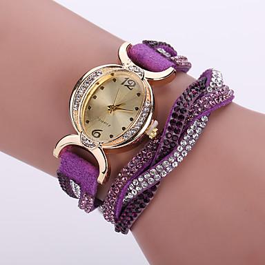 Mujer Reloj Pulsera / Reloj de Pulsera / Simulado Diamante Reloj La imitación de diamante / / Piel Banda Flor / Bohemio / Moda Negro / Blanco / Azul / Un año / Tianqiu 377