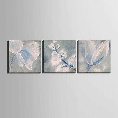 מצויר ביד פרחוני/בוטני ציורי שמן,מודרני / סגנון ארופאי פנל אחד בד ציור שמן צבוע-Hang For קישוט הבית