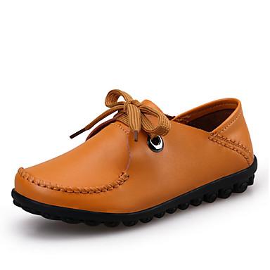 Mulheres Sapatos Pele Verão Conforto Sem Salto para Casual Preto Amarelo Marron
