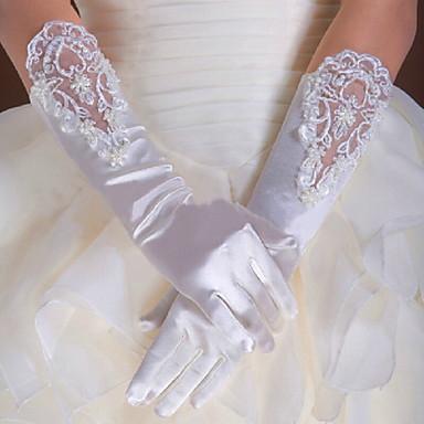 כותנה סאטן אלסטי אורך פרק כף היד אורך מרפק כפפה קסם מסוגנן כפפות כלה כפפות ערב\מסיבה With ריקמה מוצק
