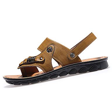 herresko pu uformelle sandaler tilfeldige innendørs domstol flat hæl andre svart / brun / gul / khaki