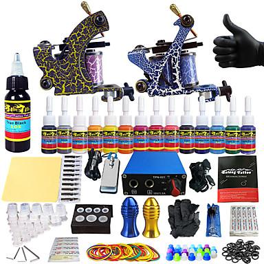 Kit de Tatouage pour Débutants 2 Machine à tatouage x alliage pour la doublure et l'ombrage Machine à tatouer LCD alimentation 14 x 5ml