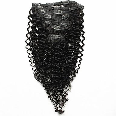 7шт / комплект 12 «-26» малазийский волос Natrual черных кудрявых кудрявые клипа в расширениях человеческих волос