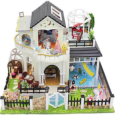 משחקי דמויות בית בובות צעצוע בניה ודגם בית פלסטיק עץ שנהב