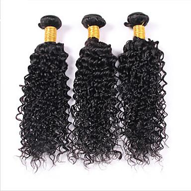 Menneskehår, Bølget malaysisk hår Kinky Krøller 3 Dele hår vævninger
