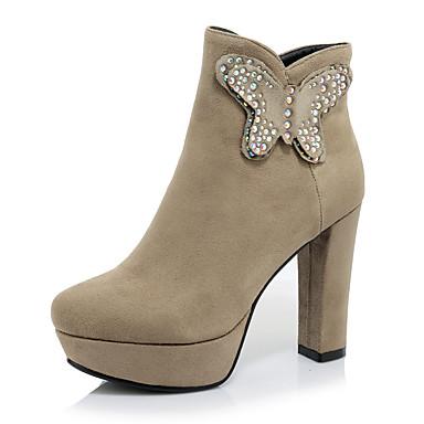 Feminino Sapatos Flanelado Outono Inverno Botas da Moda Botas Salto Grosso Lantejoulas Ziper Para Casual Social Festas & Noite Preto