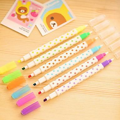 Markers & Markeerstiften Pen Markeerstiften Pen,Kunststof Vat Blauw Geel Paars Oranje Groen Inktkleuren For Schoolspullen Kantoor