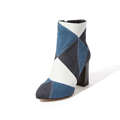 Støvler-Denim-Hæle / Spids tå / Modestøvler-Dame-Blå-Formelt / Hverdag / Fest/aften-Tyk hæl
