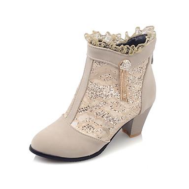 Støvler-Kunstlæder-Hæle / Modestøvler-Dame-Sort / Rød / Beige-Udendørs / Kontor / Hverdag-Tyk hæl